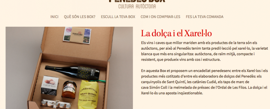 Gift boxes with special products from the Penedes