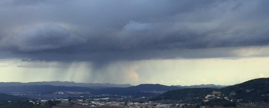 Rain at the distance in Penedes valley